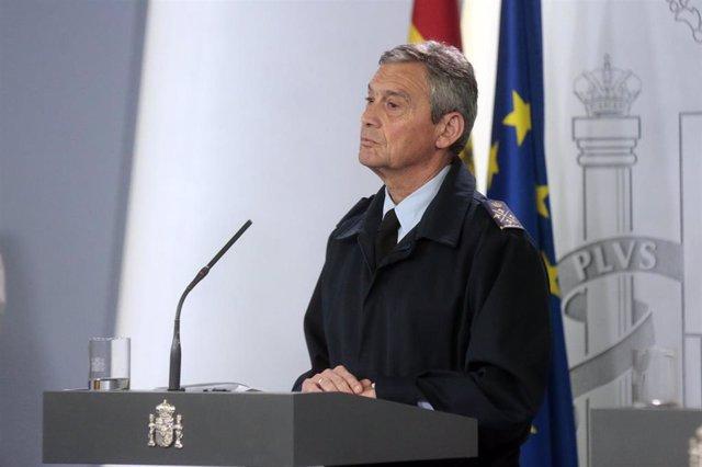 El Jefe de Estado Mayor de la Defensa (JEMAD), Miguel Ángel Villarroya, en una rueda de prensa en el Palacio de la Moncloa
