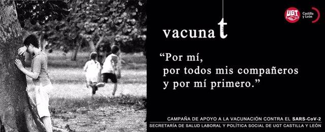 Imagen de la campaña de UGT para concienciar en los centros de trabajo sobre la importancia de vacunarse frente a la COVID-19.