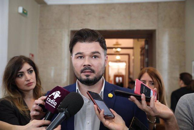 Imatge d'arxiu del portaveu d'ERC,  Gabriel Rufián, fent declaracions