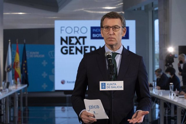 El presidente de la Xunta, Alberto Núñez Feijóo, en una intervención antes del foro 'Next Generation'.