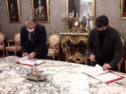 Gobierno y Ayuntamiento de Pamplona firman la cesión del solar de la antigua cárcel para ampliar el Palacio de Justicia