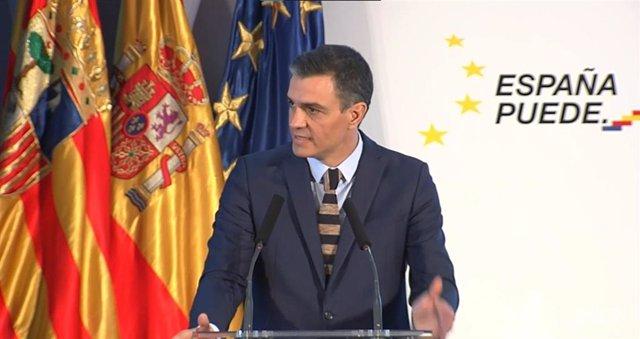 El presidente del Gobierno, Pedro Sánchez, presenta el Plan de Recuperación, Transformación y Resiliencia de la Economía Española en el Palacio de Congresos de Zaragoza, Aragón, a 22 de enero de 2021.