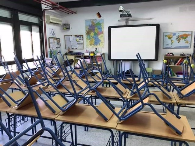 Aula vacía en un colegio de Andalucía.