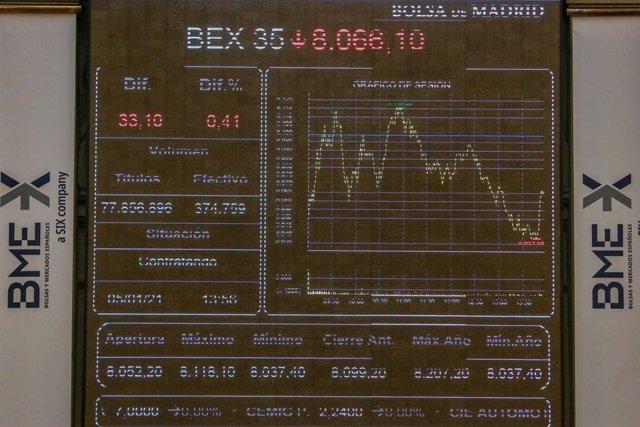 Valores del Ibex 35 en la bolsa de Madrid (España), a 5 de enero de 2021. El Ibex 35 cedía un 0,32% en la media sesión de este martes, en la que se colocaba en los 8.072,9 puntos, en un contexto marcado por el avance del Covid-19 y su impacto económico, l