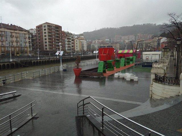 Cielos cubiertos y lluvia en Bilbao