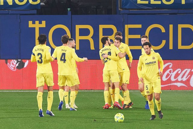 Villarreal players celebrates the goal of Ruben Pena during the La Liga Santander mach between Villarreal and Granada at Estadio de la Ceramica on 22 January, 2021 in Vila-real, Spain