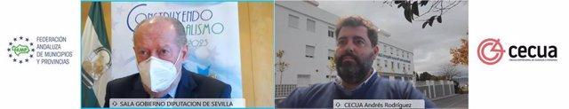 Imagen del encuentro virtual que han mantenido el presidente de la FAMP y de la Diputación de Sevilla, Fernando Rodríguez Villalobos, y el presidente de Cecua, Andrés Rodríguez González, sobre el precio/hora de la ayuda a domicilio.