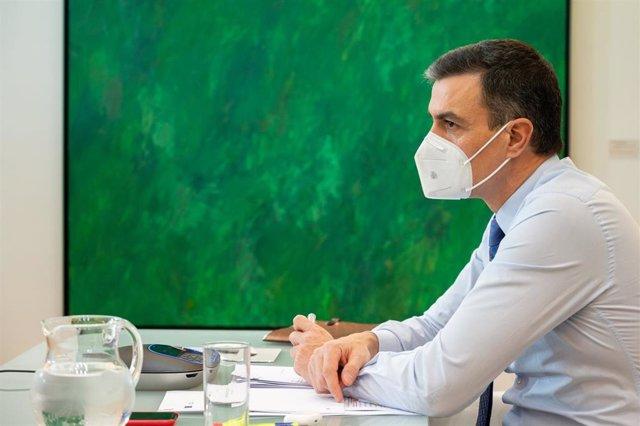 El presidente del Gobierno, Pedro Sánchez, participa por videoconferencia en la reunión del Consejo Europeo de la Unión Europea sobre coronavirus y vacunación, en Madrid (España), a 21 de enero de 2021.