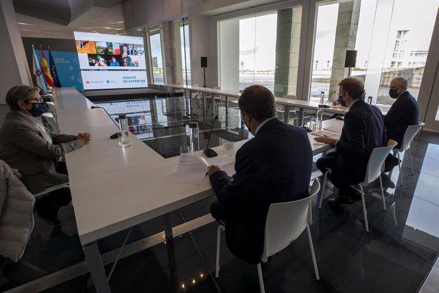El presidente de la Xunta, Alberto Núñez Feijóo, preside una reunión con el comité de expertos económicos.