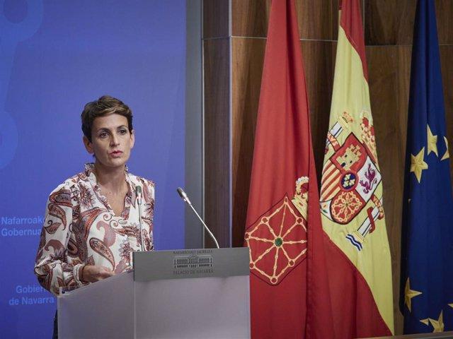 La presidenta del Gobierno de Navarra y secretaria general del PSN, María Chivite
