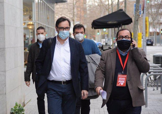 El ministre de Sanitat i cap de llista del PSC a les eleccions catalanes, Salvador Illa, entrant al Comitè Federal del PSOE, celebrat el 23 de gener a Barcelona