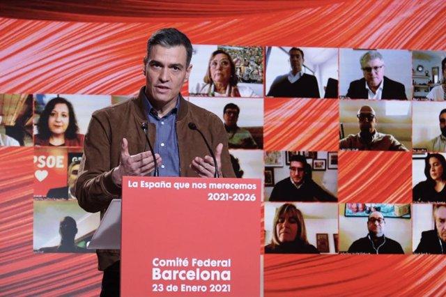 El president del Govern central i secretari general del PSOE, Pedro Sánchez, al Comitè Federal del 23 de gener a Barcelona