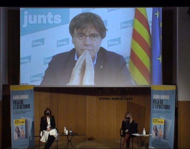 La candidata de JxCat a la presidència de la Generalitat, Laura Borràs, i l'expresident de la Generalitat, Carles Puigdemont.