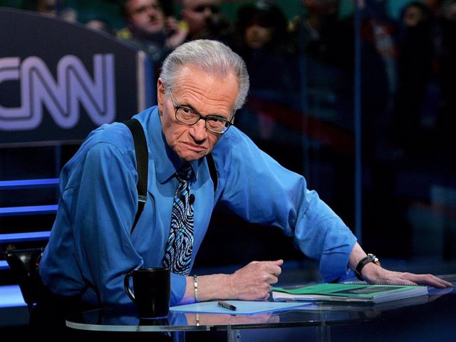 CNN's Larry King during the election night results program at the NASDAQ building in Times Square November 2, 2004 in New York City.