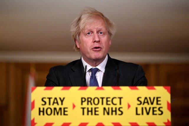 22 January 2021, United Kingdom, London: UK Prime Minister Boris Johnson speaks during a media briefing on coronavirus (Covid-19) at Downing Street. Photo: Leon Neal/PA Wire/dpa