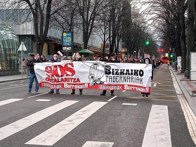 Manifestación de hosteleros en Bilbao