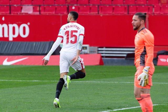 Celebrate score of Youssef En-Nesyri of Sevilla during LaLiga, football match played between Sevilla Futbol Club and Cadiz Club de Futbol at Ramon Sanchez Pizjuan Stadium on January 23, 2021 in Sevilla, Spain.