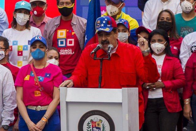 Nicolás Maduro en un acto de campaña electoral en Caracas