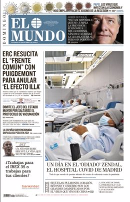 Portada del diario El Mundo para el 24 de enero de 2021.