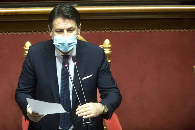 19 January 2021, Italy, Rome: Italian Prime Minister Giuseppe Conte speaks during a Senate session on a vote of confidence following a breakdown of government alliances after the Italia Viva party of former prime minister Matteo Renzi decided to withdraw