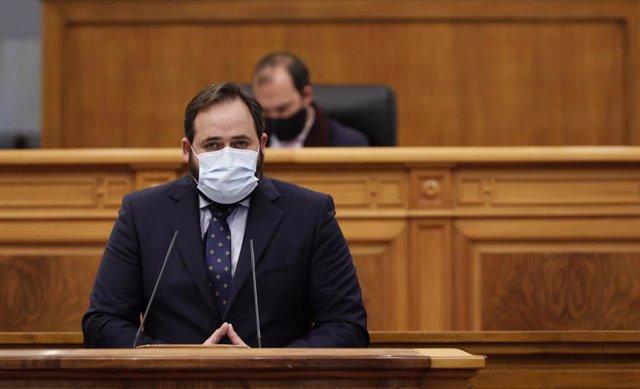 Foto de archivo del presidente del PP de C-LM, Paco Núñez, en su comparecencia ante el pleno de las Cortes
