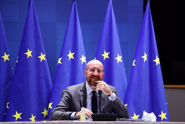 HANDOUT - 21 January 2021, Belgium, Brussels: European Council President Charles Michel takes part in a EU summit video conference at the European Council headquarters. EU leaders were striving to forge a strategy to keep in check fast-spreading new coron