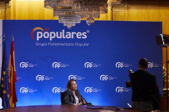 La portavoz del Grupo Popular en el Congreso, Cuca Gamarra, en una entrevista con Europa Press, en Madrid (España)