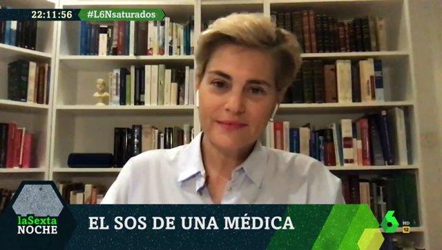 La presidenta de la Sociedad Valenciana de Medicina Familiar y Comunitaria, María Ángeles Medina, durante su intervención en 'laSexta Noche'