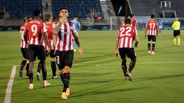 Unai Nuñez celebra el 1-2 del Athletic Club en Ibiza
