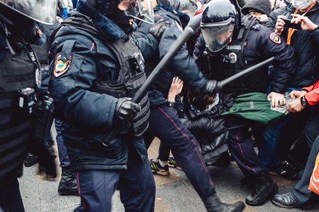 Disturbios durante una manifestación para exigir la liberación del opositor ruso Alexei Navalni en Moscú