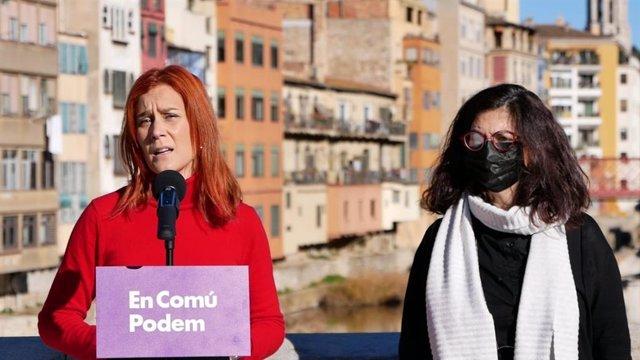 La líder dels comuns al Parlament, Jéssica Albiach, i la candidata per Girona, Rosa Lluch.