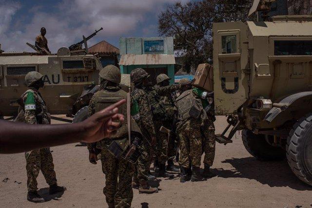 Militares ugandeses de la Misión de la Unión Africana en Somalia (AMISOM)