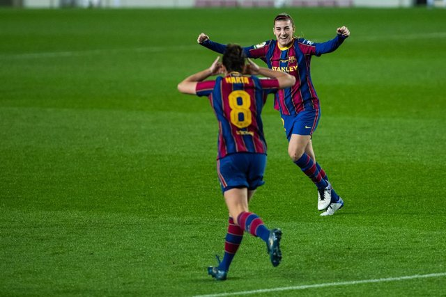 BARCELONA, SPAIN - JANUARY ; 12 Patri Guijarro during the Liga Iberdrola match between FCBarcelona and RCD Espanyol de Barcelona at Camp Nou Stadium on January 6, 2021 in Barcelona, Spain