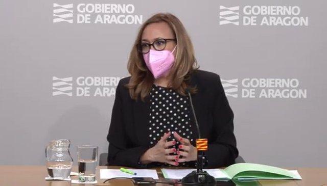 Mayte Pérez en la rueda de prensa tras el Consejo de Gobierno.
