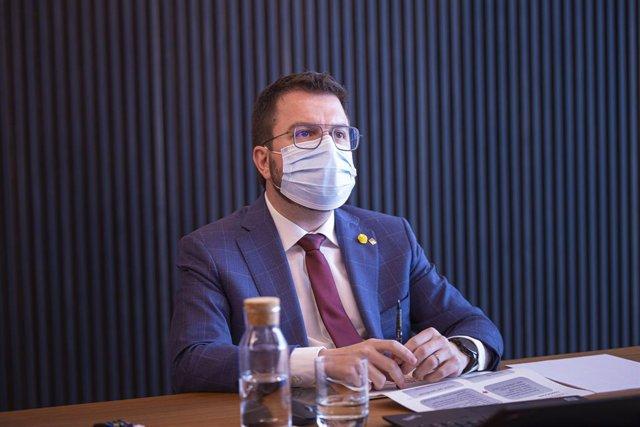 El vicepresident de la Generalitat, Pere Aragonès, durant la reunió del Consell del Diàleg Social de Catalunya