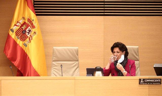 La presidenta del Tribunal de Cuentas, María José de la Fuente, durante una sesión de la Comisión Mixta para las Relaciones con el Tribunal de Cuentas en el Congreso de los Diputados, en Madrid (España), a 10 de diciembre de 2020.
