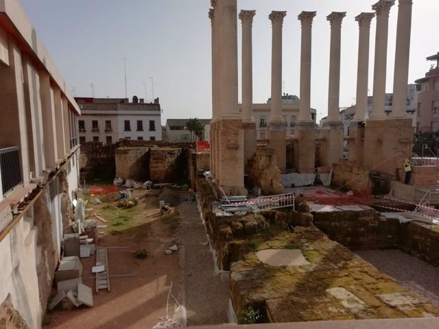 Obras en el Templo Romano de Córdoba, en una imagen de archivo.