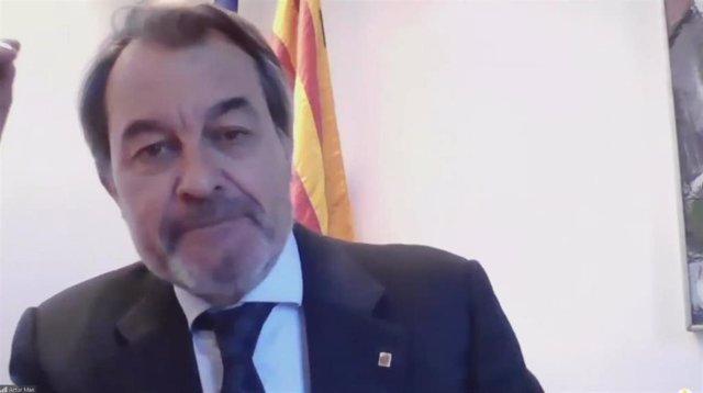 El expresidente de la Generalitat Artur Mas en un acto de apoyo al PDeCAT.