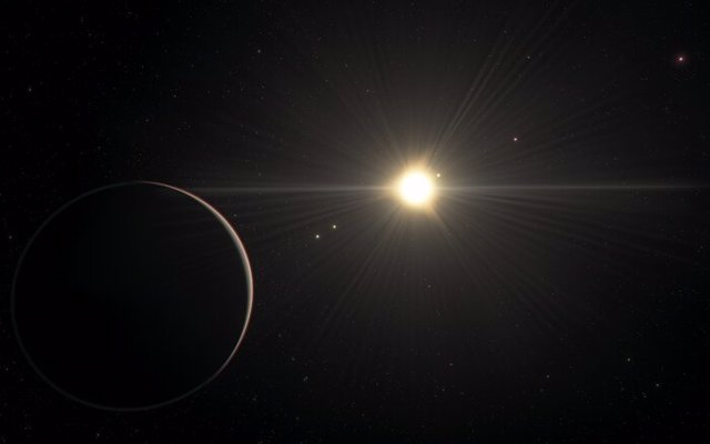 La impresión de este artista muestra la vista desde el planeta en el sistema TOI-178 que se encuentra orbitando más lejos de la estrella.