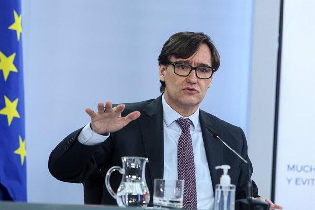 El ministro de Sanidad, Salvador Illa durante una rueda de prensa convocada ante los medios posterior al Consejo de Ministros, en La Moncloa, Madrid, (España), a 12 de enero de 2021.
