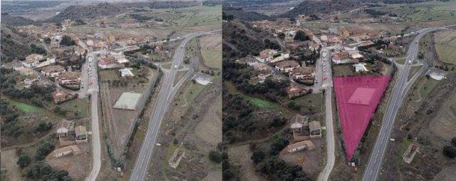 Parcela que acogerá el parque del Servicio de Prevención y Extinción de Incendios de la provincia de Huesca. En la localidad de Castejón del Puente.