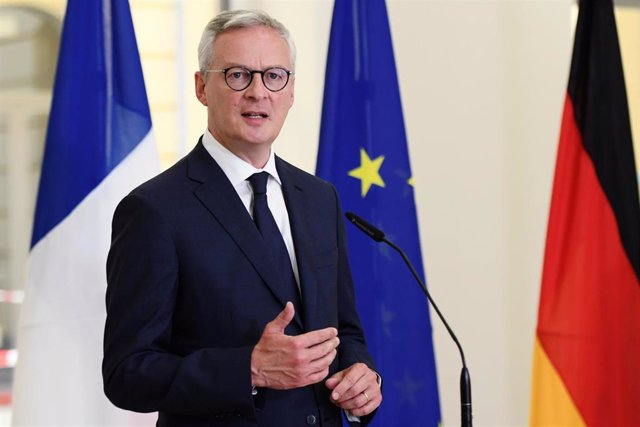 22 June 2020, Berlin: French Minister of Economy and Finance Bruno Le Maire speaks during a press conference with German Minister of Economics Peter Altmaier (Not Pictured) before their meeting at the Federal Ministry of Finance. Photo: Annegret Hilse/Reu