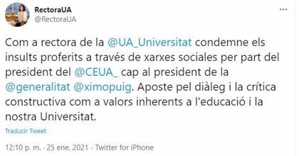 La rectora de la UA condena los insultos del presidente del Consejo de Estudiantes a Ximo Puig