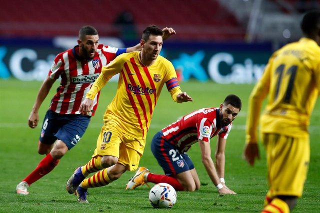 Leo Messi en el partido contra el Atlético de Madrid en el Wanda Metropolitano de LaLiga Santander 2020-21.