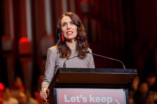 Jacinda Ardern, en un mitin del Partido Laborista de Nueva Zelanda