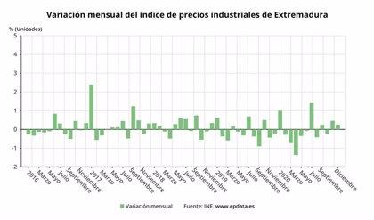 Los precios industriales suben un 0,3 por ciento en diciembre en Extremadura y bajan un 0,1% en tasa interanual