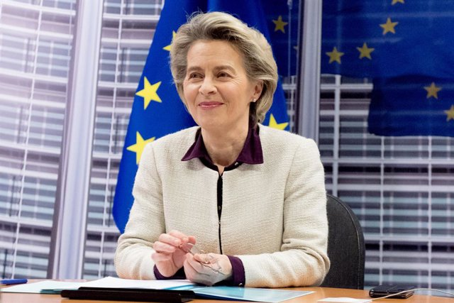 HANDOUT - 21 January 2021, Belgium, Brussels: President of the European Commission Ursula von der Leyen takes part in a EU summit video conference at the European Council headquarters. EUleaders were striving to forge a strategy to keep in check fast-spr