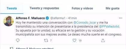 """Mañueco reconoce la gestión de Conrado Íscar, su apuesta por la unidad y el municipalismo como sus """"mejores avales"""""""