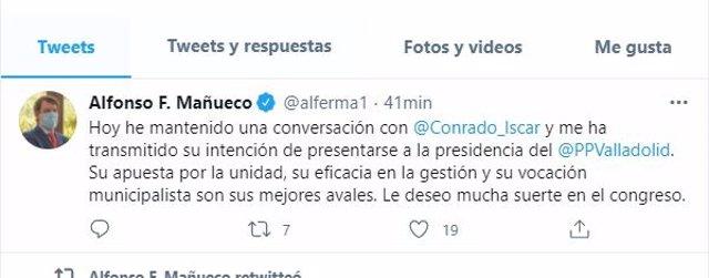 Captura del tuir escrito por Alfonso Fernández Mañueco sobre Conrado Íscar.