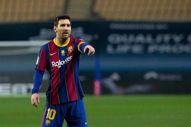 Lionel Messi of Barcelona during the Spanish SuperCup Final between Futbol Club Barcelona and Athletic Club Bilbao at La Cartuja Stadium on January 17, 2021 in Sevilla, Spain.